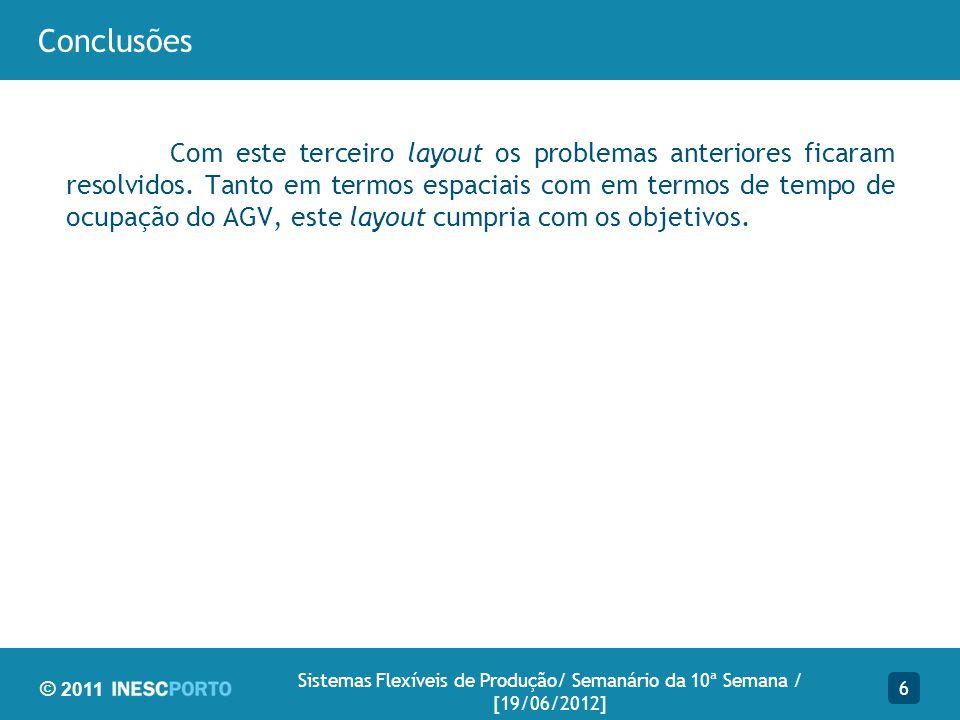 © 2011 Conclusões Com este terceiro layout os problemas anteriores ficaram resolvidos.