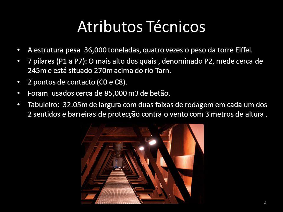 Atributos Técnicos A estrutura pesa 36,000 toneladas, quatro vezes o peso da torre Eiffel. 7 pilares (P1 a P7): O mais alto dos quais, denominado P2,