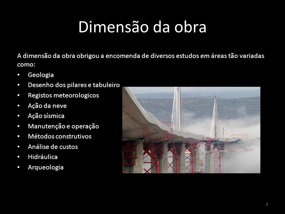 Dimensão da obra A dimensão da obra obrigou a encomenda de diversos estudos em áreas tão variadas como: Geologia Desenho dos pilares e tabuleiro Regis