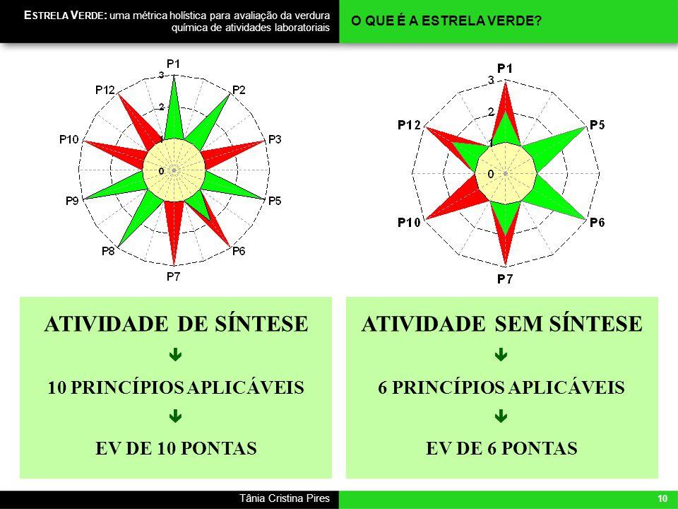 10 Tânia Cristina Pires E STRELA V ERDE : uma métrica holística para avaliação da verdura química de atividades laboratoriais O QUE É A ESTRELA VERDE?