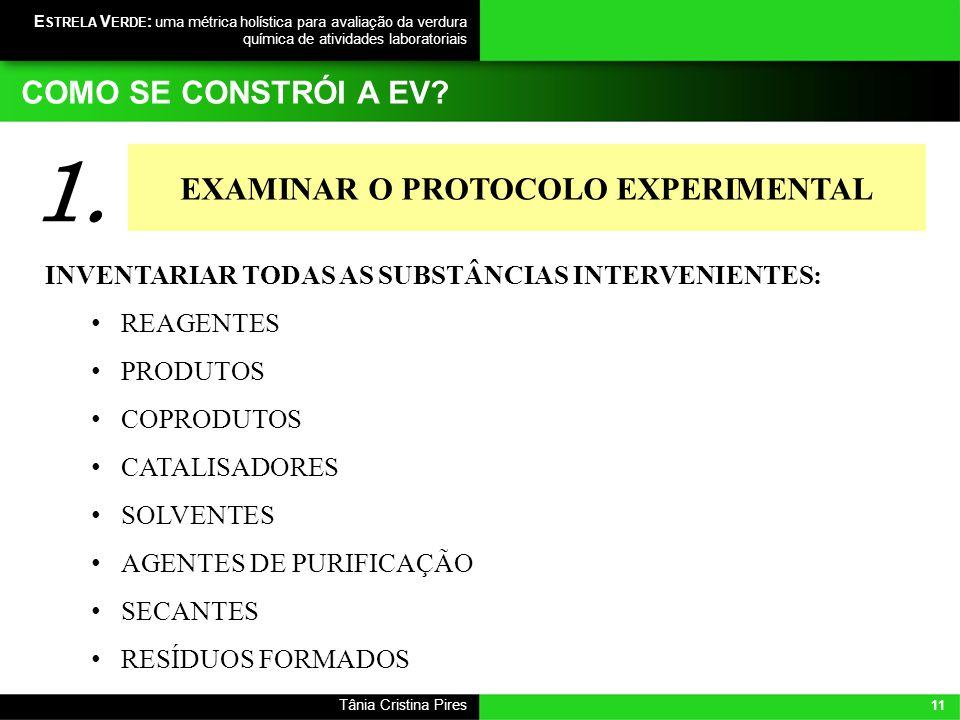 11 Tânia Cristina Pires E STRELA V ERDE : uma métrica holística para avaliação da verdura química de atividades laboratoriais INVENTARIAR TODAS AS SUB