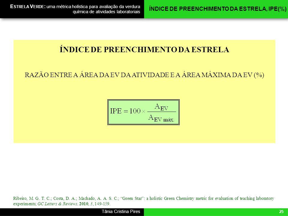 25 Tânia Cristina Pires E STRELA V ERDE : uma métrica holística para avaliação da verdura química de atividades laboratoriais ÍNDICE DE PREENCHIMENTO