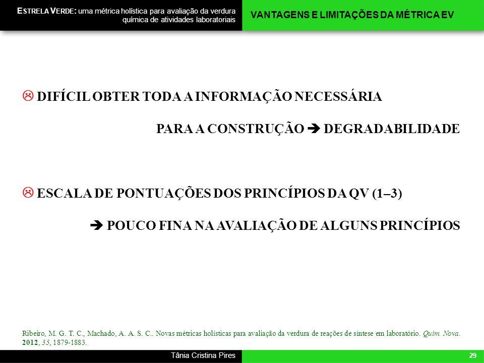 29 Tânia Cristina Pires E STRELA V ERDE : uma métrica holística para avaliação da verdura química de atividades laboratoriais DIFÍCIL OBTER TODA A INF