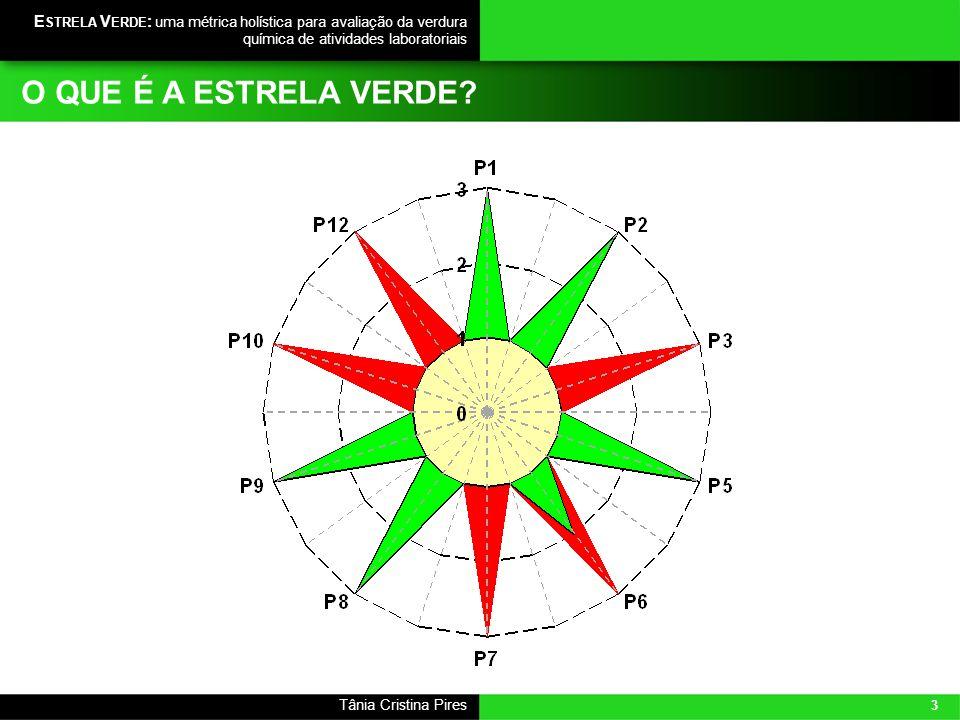 3 Tânia Cristina Pires E STRELA V ERDE : uma métrica holística para avaliação da verdura química de atividades laboratoriais O QUE É A ESTRELA VERDE?