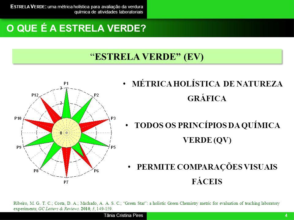 4 Tânia Cristina Pires E STRELA V ERDE : uma métrica holística para avaliação da verdura química de atividades laboratoriais Ribeiro, M. G. T. C.; Cos