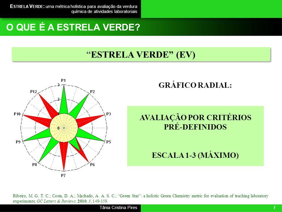 7 Tânia Cristina Pires E STRELA V ERDE : uma métrica holística para avaliação da verdura química de atividades laboratoriais Ribeiro, M. G. T. C.; Cos
