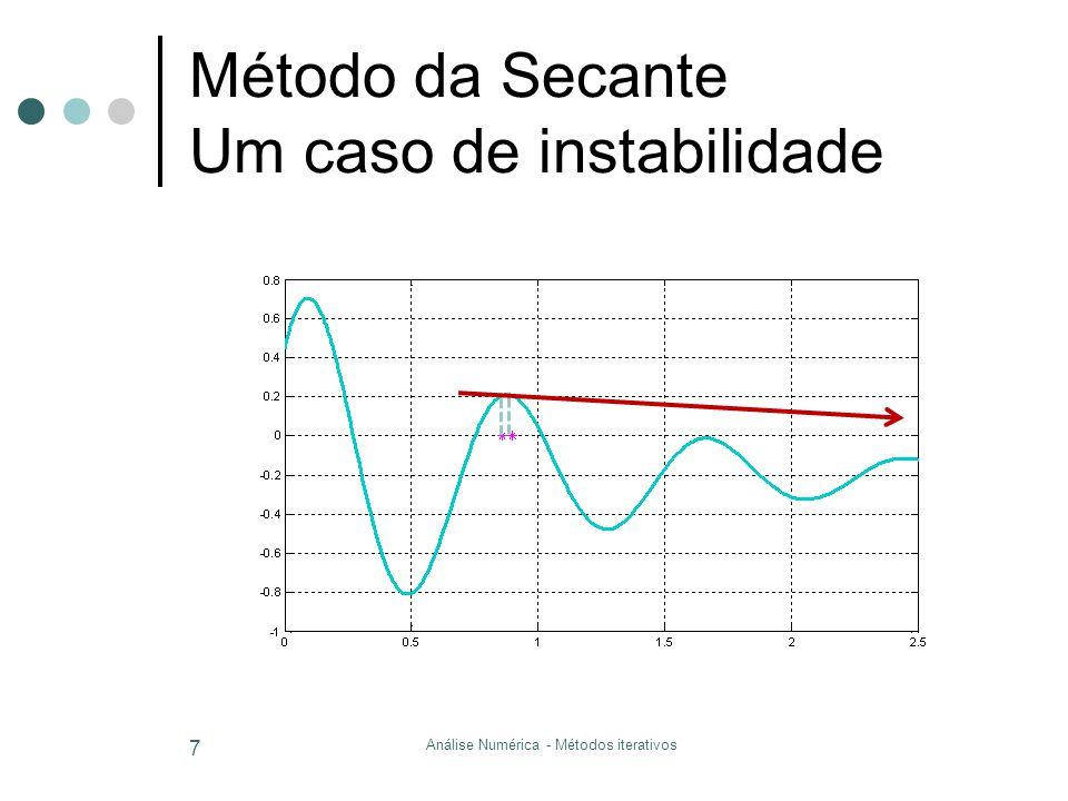 Método da Secante Um caso de instabilidade Análise Numérica - Métodos iterativos 7