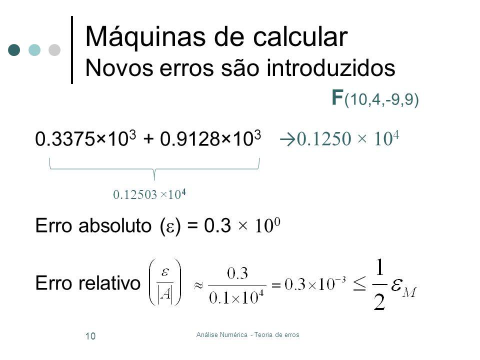 Análise Numérica - Teoria de erros 10 Máquinas de calcular Novos erros são introduzidos 0.3375×10 3 + 0.9128×10 3 Erro absoluto ( ) = 0.3 × 10 0 Erro