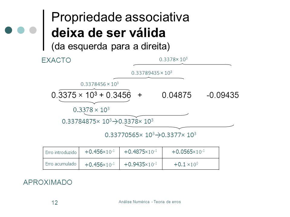0.3375 × 10 3 + 0.3456 + 0.04875 -0.09435 Propriedade associativa deixa de ser válida (da esquerda para a direita) Análise Numérica - Teoria de erros