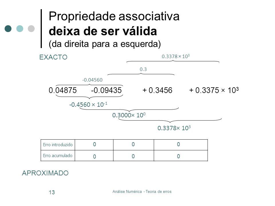 0.04875 -0.09435 + 0.3456 + 0.3375 × 10 3 Propriedade associativa deixa de ser válida (da direita para a esquerda) Análise Numérica - Teoria de erros
