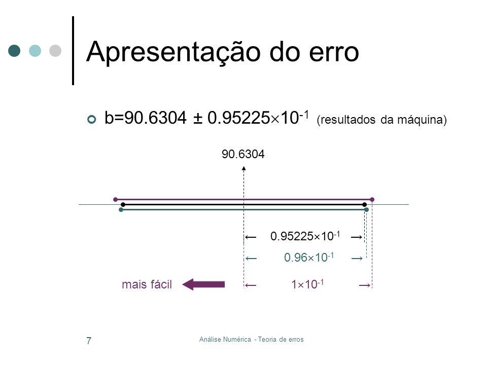 Máquinas de calcular overflow 0.9435 × 10 5 × 0.8125 × 10 5 Se fosse subtituído por x max =0.9999 × 10 9 : Erro absoluto Erro relativo Análise Numérica - Teoria de erros 8 × × =| × × × GRANDE F (10,4,-9,9)