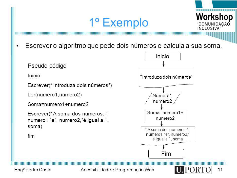Engº Pedro CostaAcessibilidade e Programação Web 11 1º Exemplo Escrever o algoritmo que pede dois números e calcula a sua soma. Pseudo código Inicio E