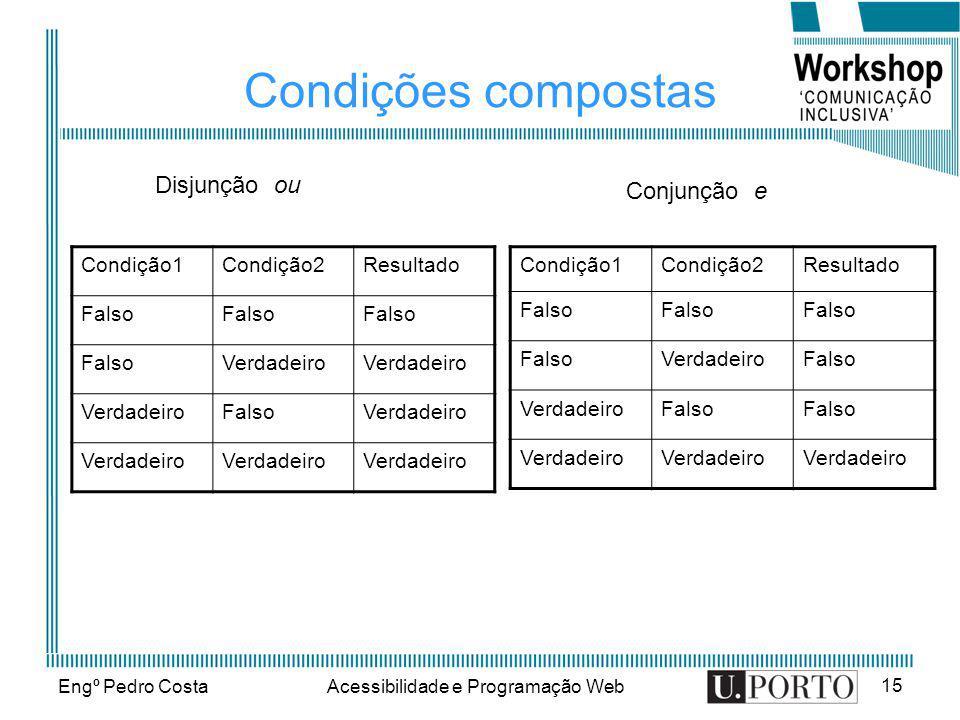 Engº Pedro CostaAcessibilidade e Programação Web 15 Condições compostas Condição1Condição2Resultado Falso VerdadeiroFalso VerdadeiroFalso Verdadeiro C