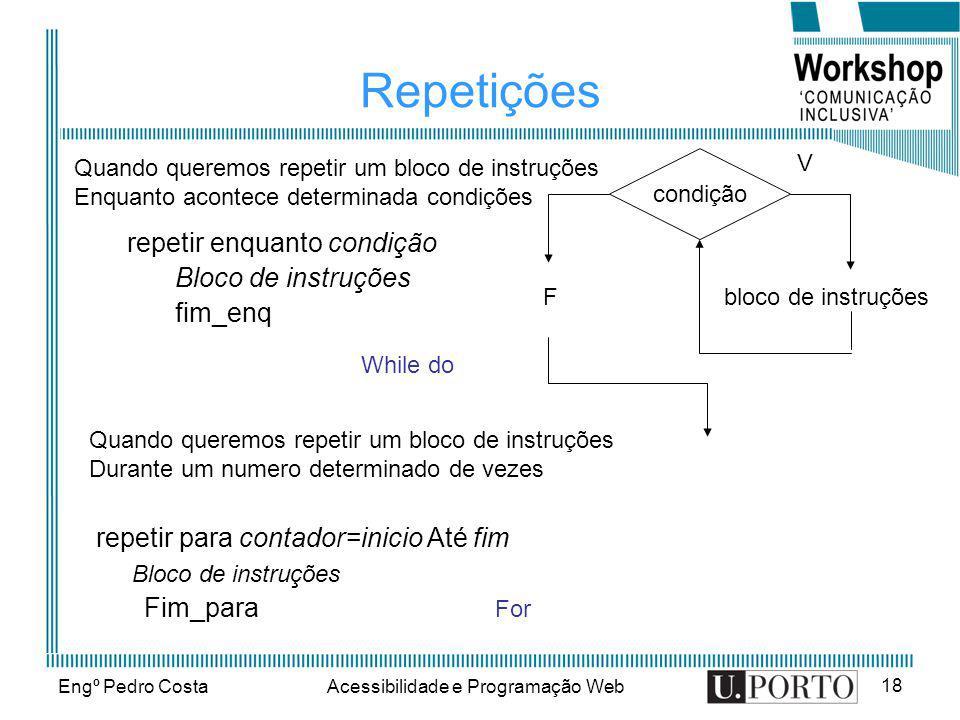 Engº Pedro CostaAcessibilidade e Programação Web 18 Repetições repetir enquanto condição Bloco de instruções fim_enq condição bloco de instruçõesF V Q