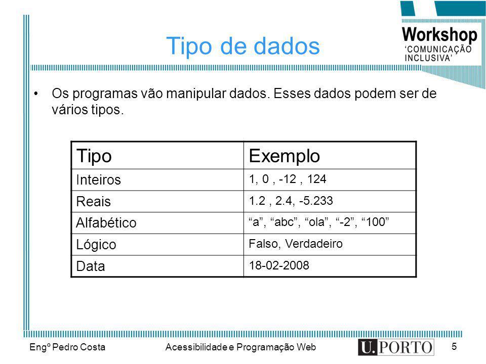 Engº Pedro CostaAcessibilidade e Programação Web 16 2º exemplo Dados dois números encontrar o maior Inicio Escrever( Introduza dois números) Ler(numero1,numero2) Se numero1>numero2 então maior=numero1 Senão maior=numero2 Fim_se Escrever( O maior número entre :, numero1,e, numero2,é o, maior) fim