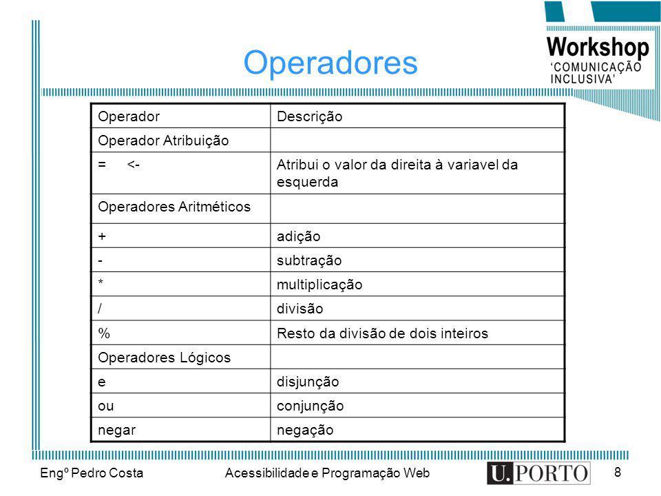 Engº Pedro CostaAcessibilidade e Programação Web 8 Operadores OperadorDescrição Operador Atribuição = <-Atribui o valor da direita à variavel da esque