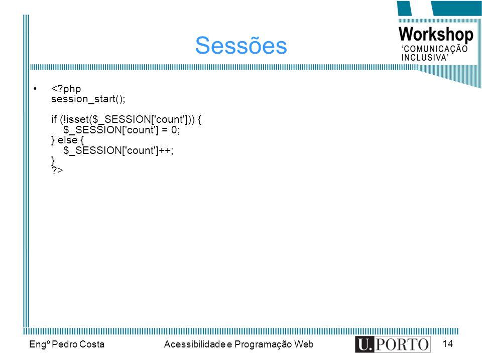 Engº Pedro CostaAcessibilidade e Programação Web 14 Sessões