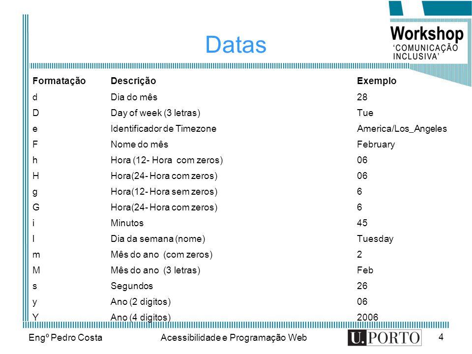 Engº Pedro CostaAcessibilidade e Programação Web 4 Datas FormataçãoDescriçãoExemplo d Dia do mês 28 D Day of week (3 letras) Tue e Identificador de Ti
