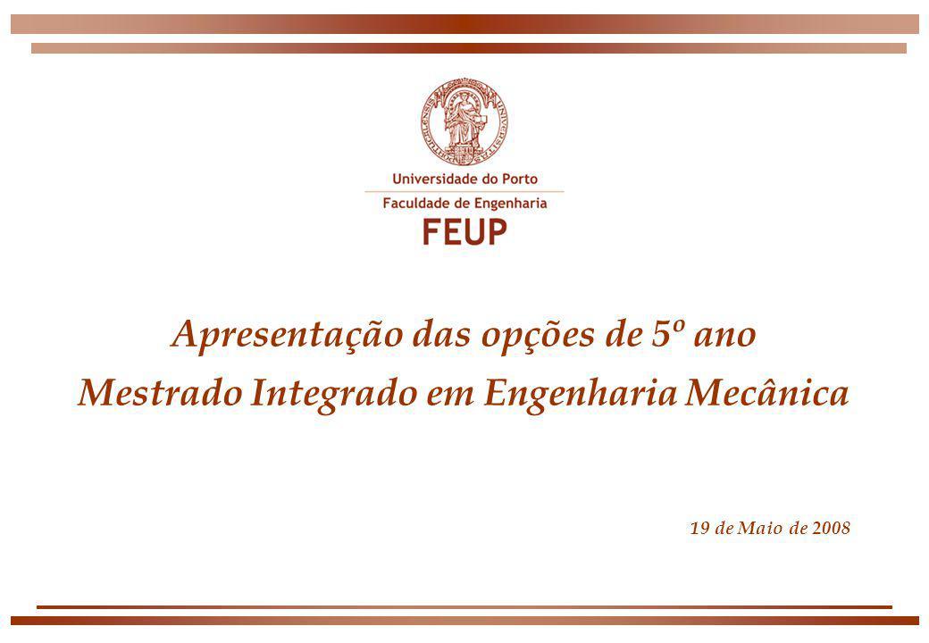 Apresentação das opções de 5º ano Mestrado Integrado em Engenharia Mecânica 19 de Maio de 2008