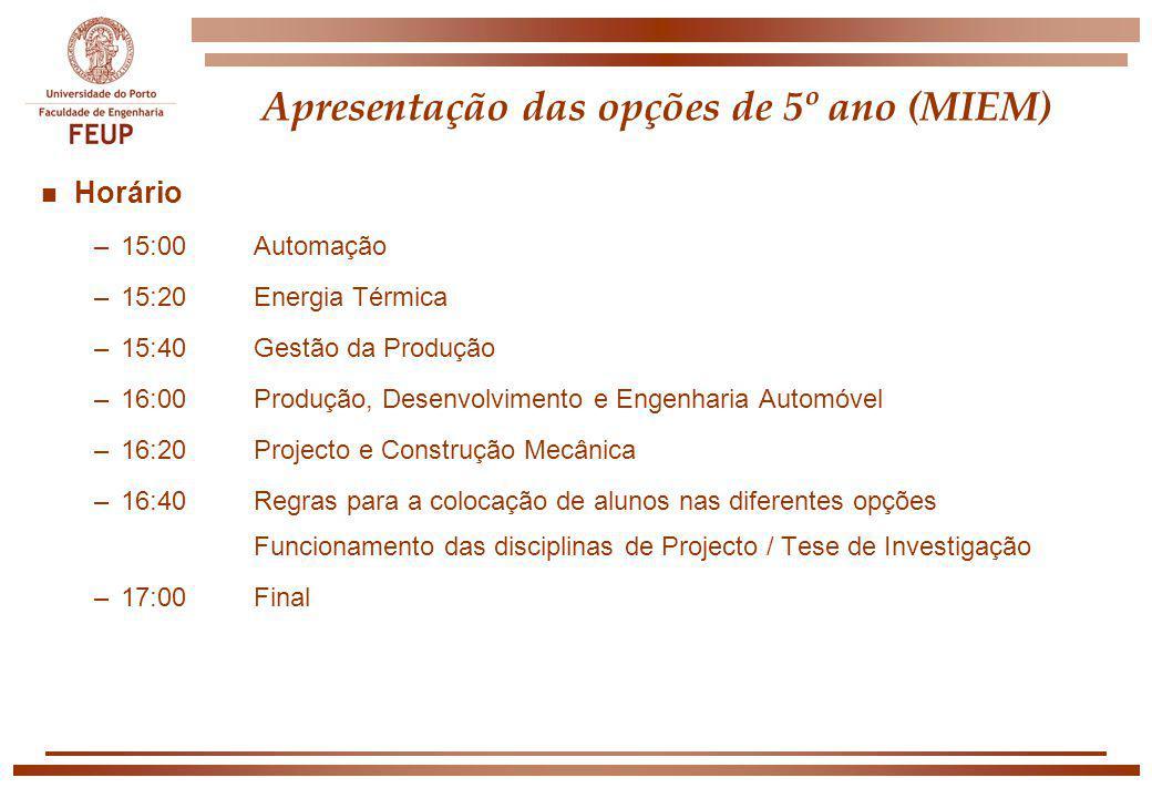 Apresentação das opções de 5º ano (MIEM) n Horário –15:00Automação –15:20Energia Térmica –15:40Gestão da Produção –16:00 Produção, Desenvolvimento e E