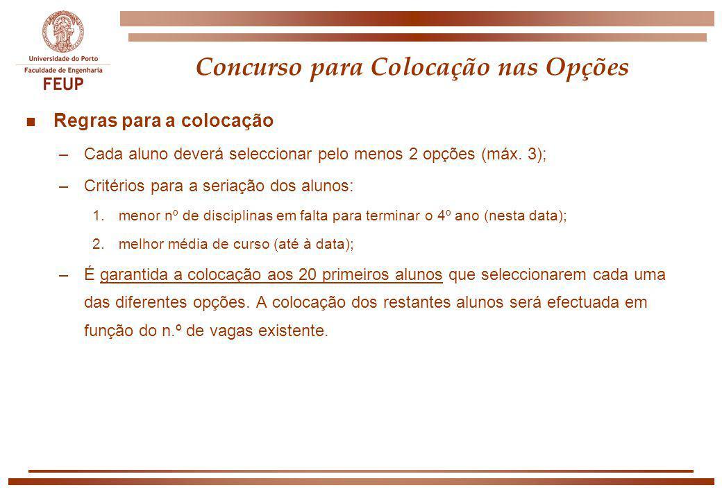 Concurso para Colocação nas Opções n Regras para a colocação –Cada aluno deverá seleccionar pelo menos 2 opções (máx. 3); –Critérios para a seriação d