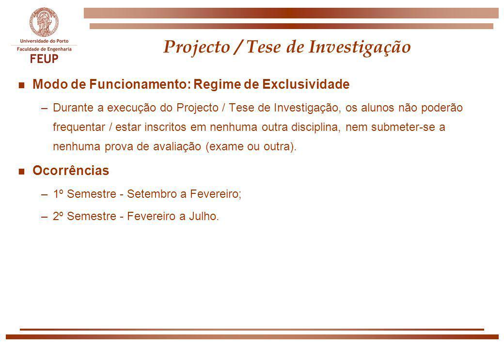 Projecto / Tese de Investigação n Modo de Funcionamento: Regime de Exclusividade –Durante a execução do Projecto / Tese de Investigação, os alunos não