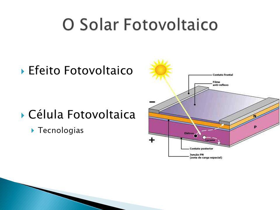 Efeito Fotovoltaico Célula Fotovoltaica Tecnologias