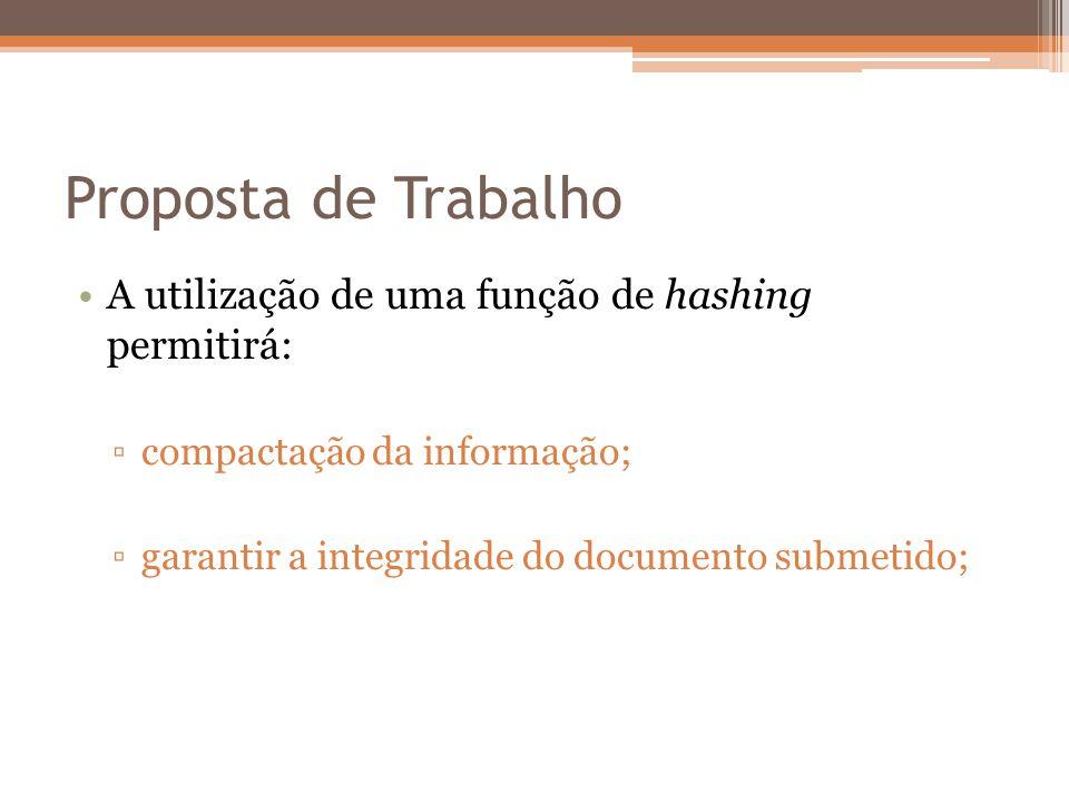 Proposta de Trabalho A utilização de uma função de hashing permitirá: compactação da informação; garantir a integridade do documento submetido;
