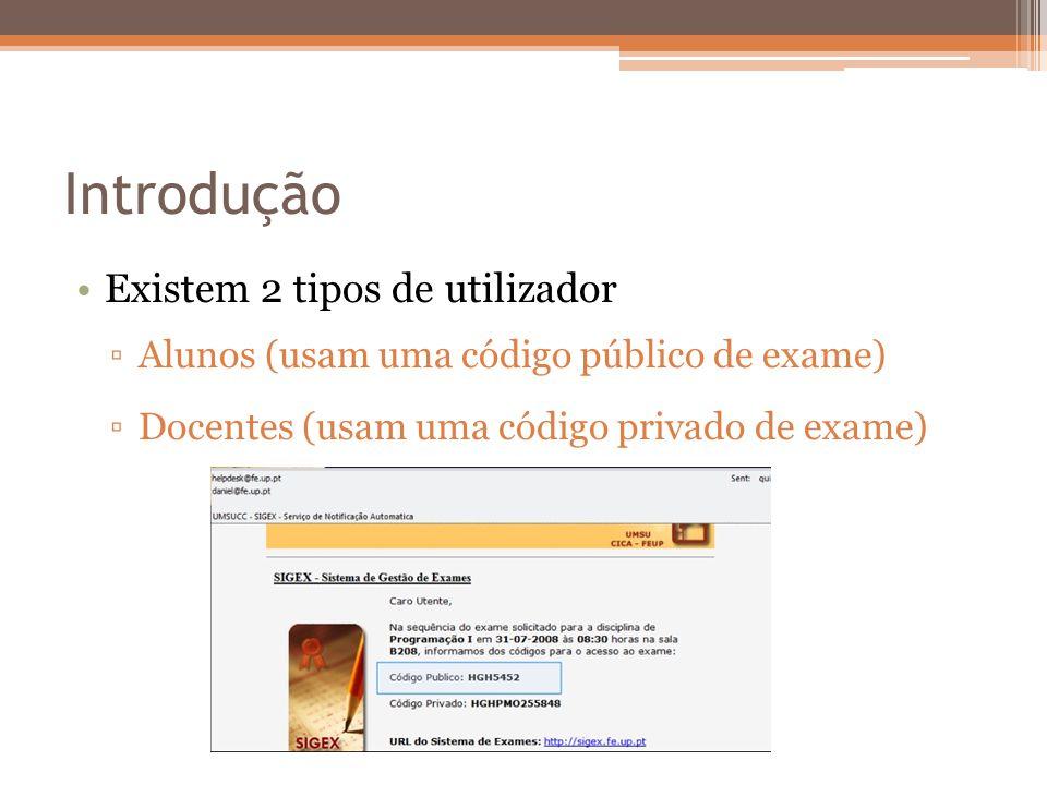 Introdução Existem 2 tipos de utilizador Alunos (usam uma código público de exame) Docentes (usam uma código privado de exame)