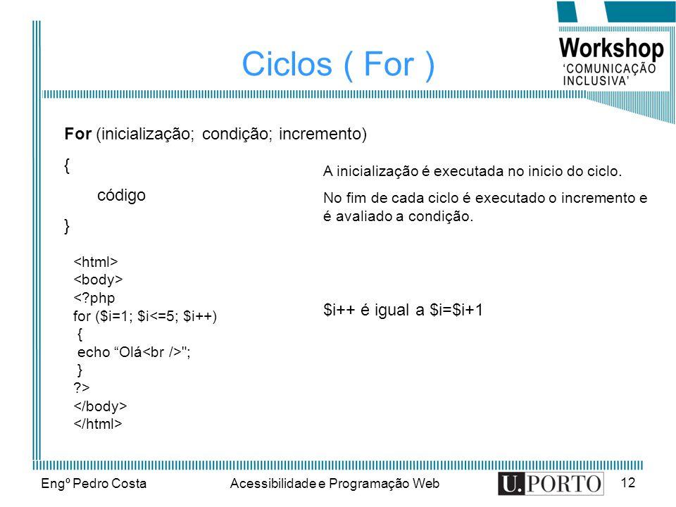 Engº Pedro CostaAcessibilidade e Programação Web 12 Ciclos ( For ) For (inicialização; condição; incremento) { código } A inicialização é executada no