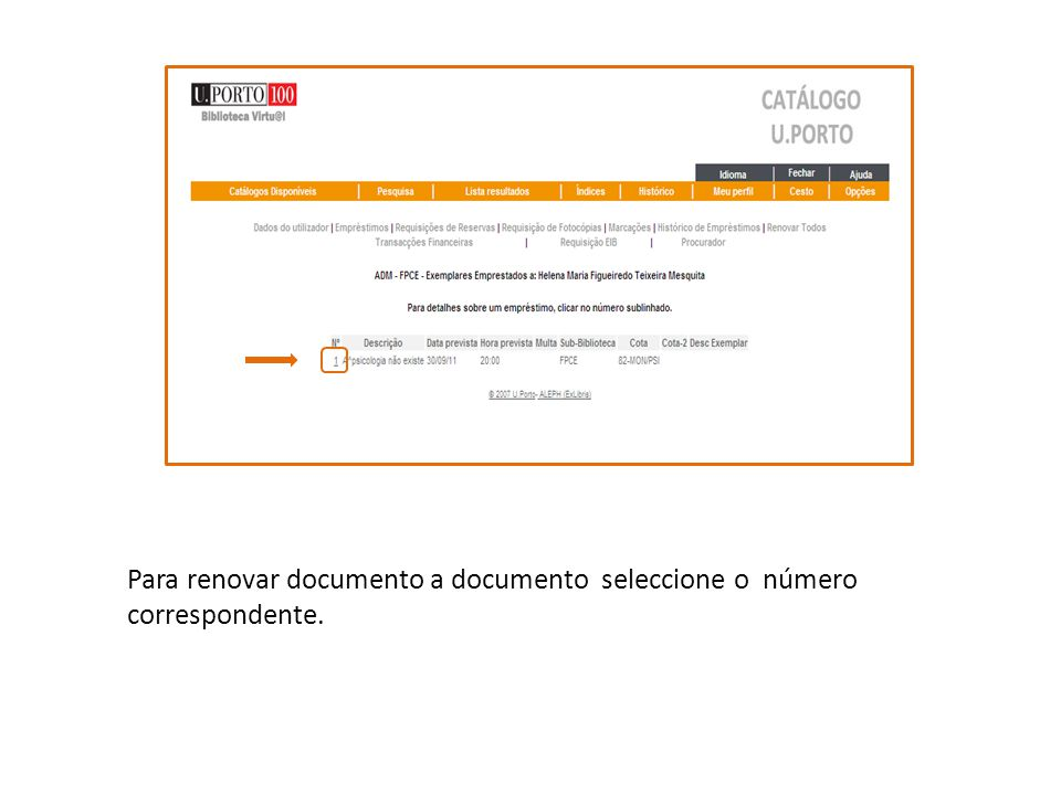 Para renovar documento a documento seleccione o número correspondente.