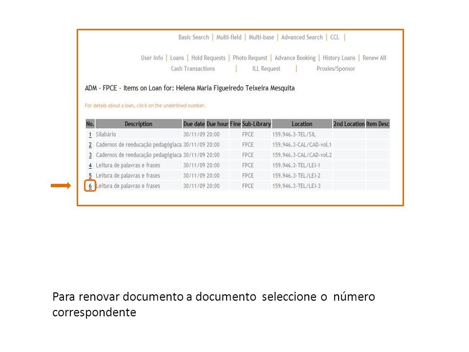 Para renovar documento a documento seleccione o número correspondente