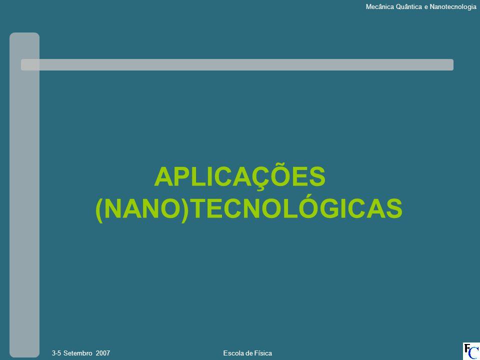 Escola de Física3-5 Setembro 2007 Mecânica Quântica e Nanotecnologia APLICAÇÕES (NANO)TECNOLÓGICAS