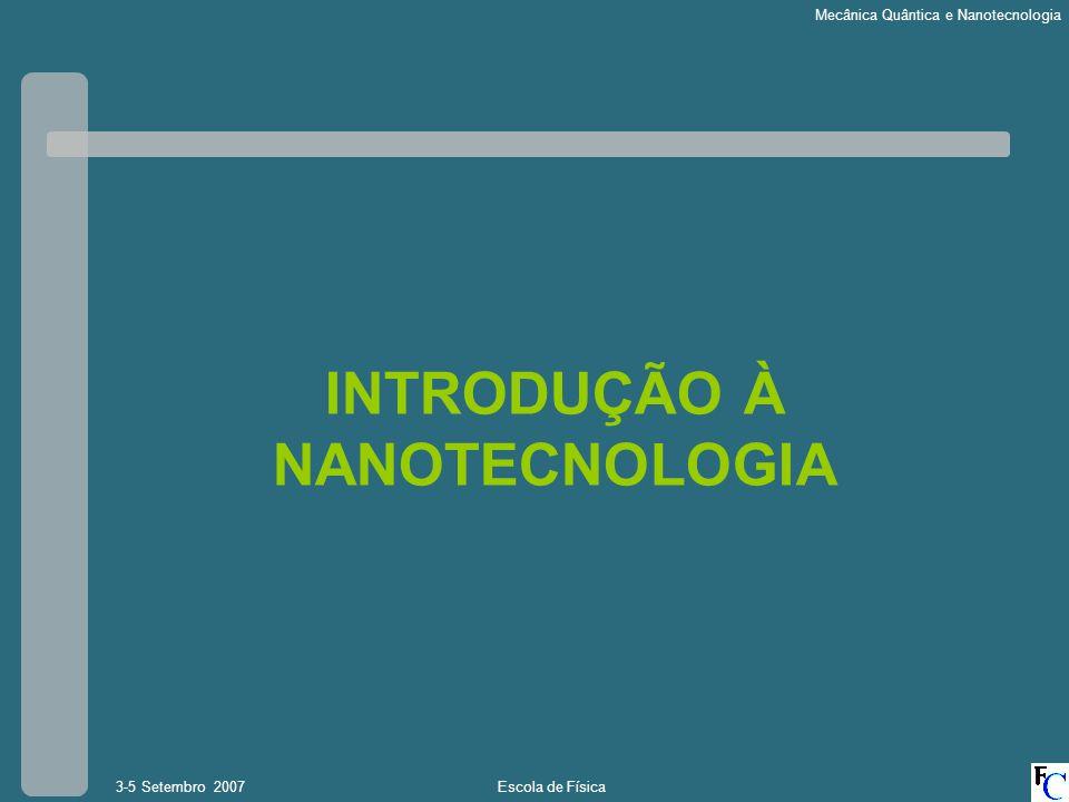 Escola de Física3-5 Setembro 2007 Mecânica Quântica e Nanotecnologia Cabeça de leitura e gravação magnetica Sensor activo de leitura e gravação Discos de Gravação Magnética