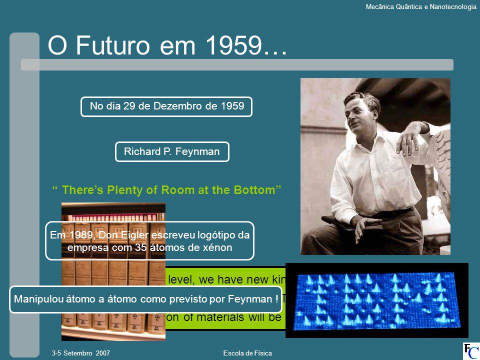 Escola de Física3-5 Setembro 2007 Mecânica Quântica e Nanotecnologia O Futuro em 1959… No dia 29 de Dezembro de 1959 Richard P. Feynman Theres Plenty