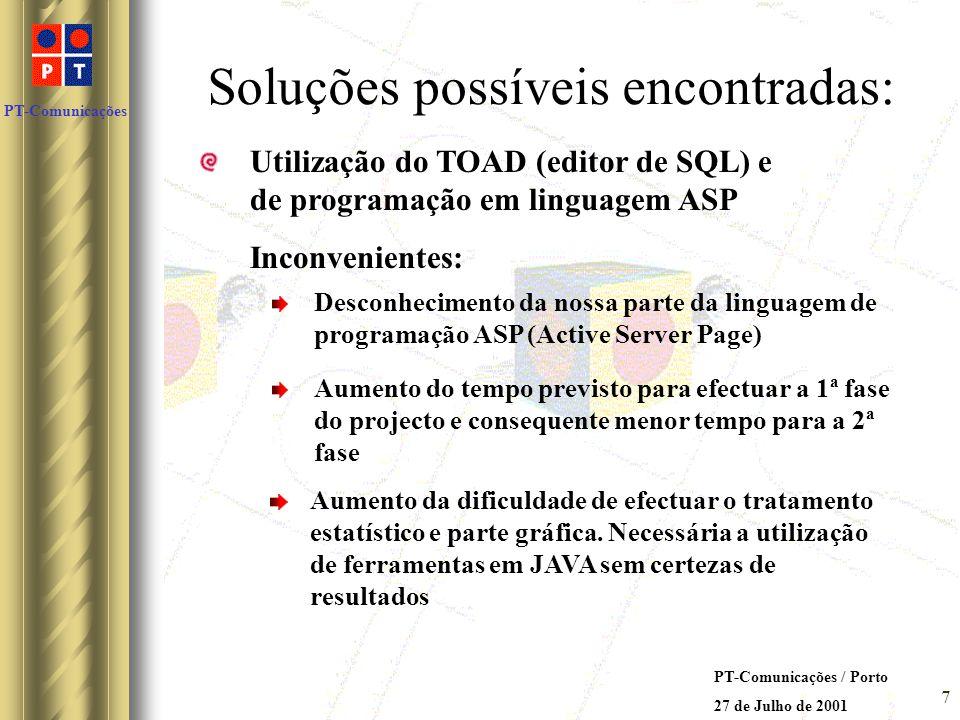 PT-Comunicações PT-Comunicações / Porto 27 de Julho de 2001 6 Requisitos da nova aplicação: Funcionar em harmonia e complementando a aplicação já exis