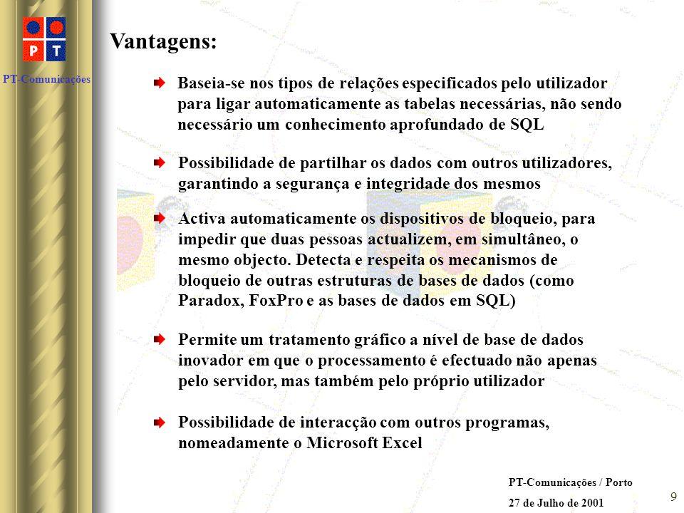 PT-Comunicações PT-Comunicações / Porto 27 de Julho de 2001 8 Soluções possíveis encontradas: ACCESS 2000 no servidor e nos terminais do utilizador Va