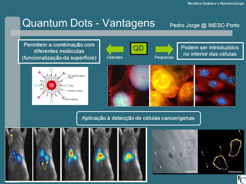 Escola de Física3-5 Setembro 2007 Mecânica Quântica e Nanotecnologia Quantum Dots - Vantagens QD Permitem a combinação com diferentes moléculas (funcionalização da superfície) Podem ser introduzidos no interior das células GrandesPequenas Aplicação à detecção de células cancerígenas Pedro Jorge @ INESC-Porto