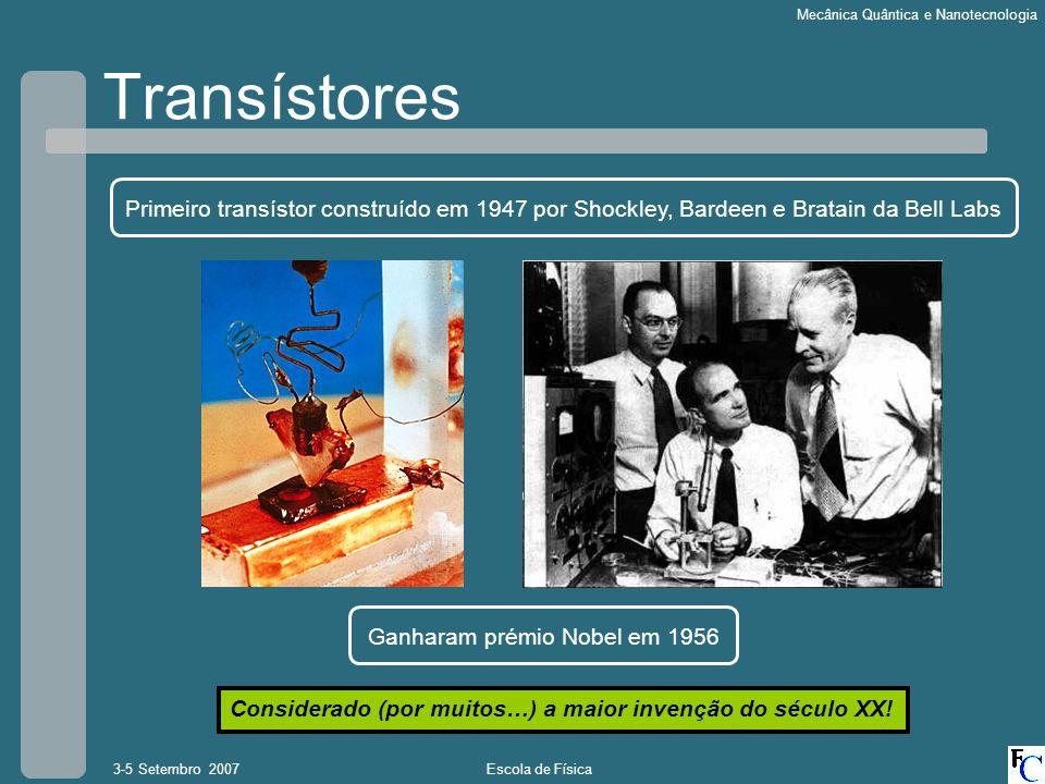 Escola de Física3-5 Setembro 2007 Mecânica Quântica e Nanotecnologia Transístores Primeiro transístor construído em 1947 por Shockley, Bardeen e Bratain da Bell Labs Ganharam prémio Nobel em 1956 Considerado (por muitos…) a maior invenção do século XX!