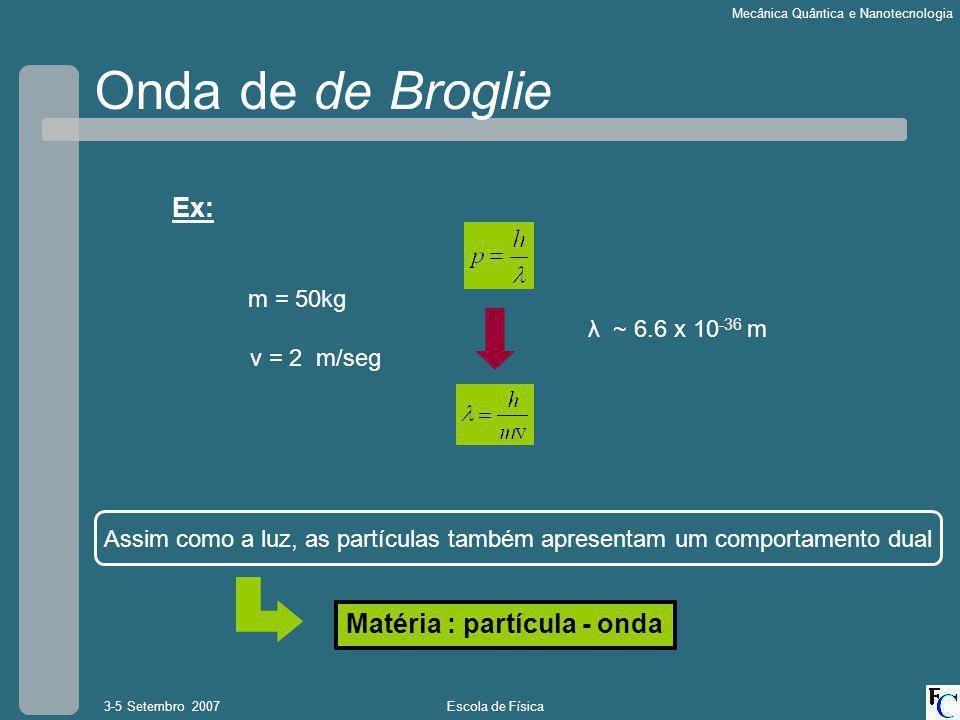 Escola de Física3-5 Setembro 2007 Mecânica Quântica e Nanotecnologia Onda de de Broglie Ex: m = 50kg v = 2 m/seg λ ~ 6.6 x 10 -36 m Assim como a luz, as partículas também apresentam um comportamento dual Matéria : partícula - onda