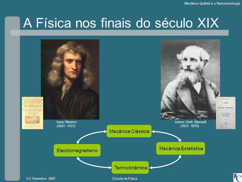 Escola de Física3-5 Setembro 2007 Mecânica Quântica e Nanotecnologia A Física nos finais do século XIX Isaac Newton (1643 -1727) James Clerk Maxwell (1831 -1879) Mecânica Clássica Termodinâmica Mecânica Estatística Electromagnetismo