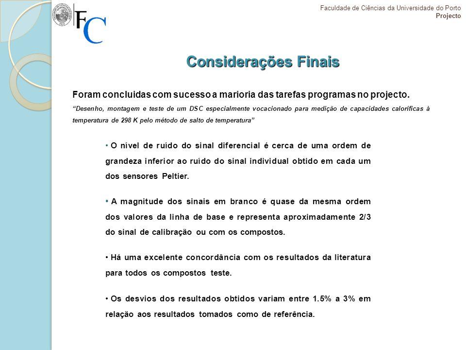 Considerações Finais Faculdade de Ciências da Universidade do Porto Projecto Há uma excelente concordância com os resultados da literatura para todos