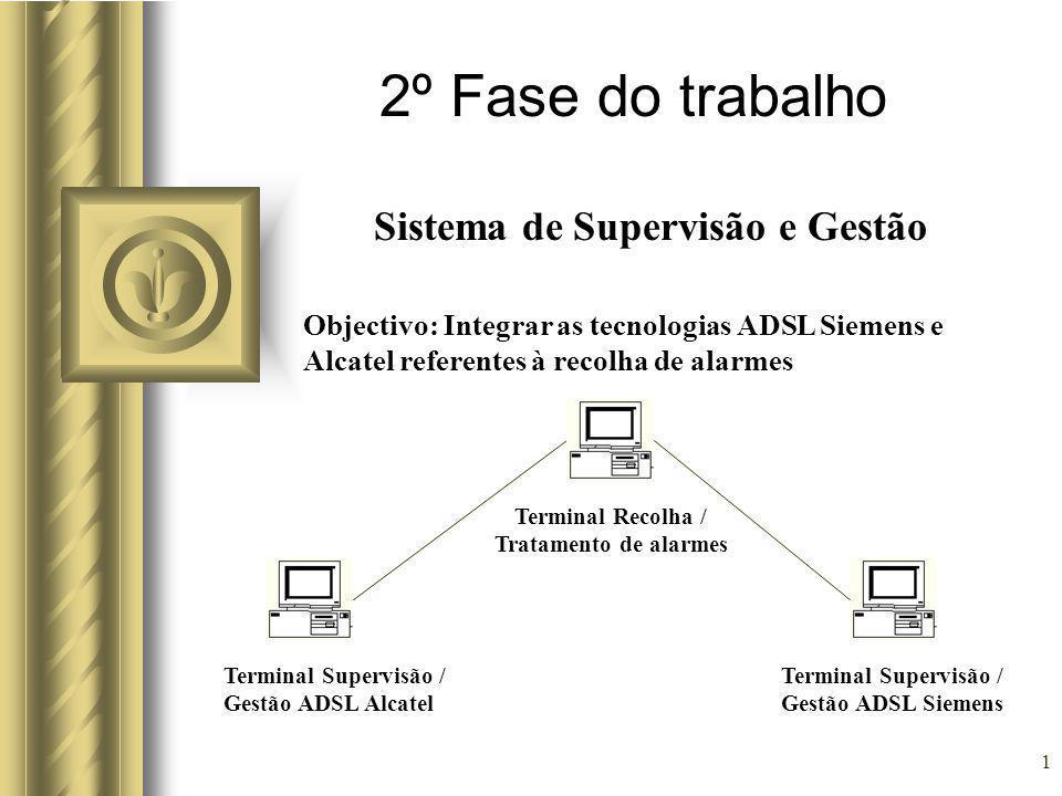 1 2º Fase do trabalho Sistema de Supervisão e Gestão Objectivo: Integrar as tecnologias ADSL Siemens e Alcatel referentes à recolha de alarmes Terminal Supervisão / Gestão ADSL Alcatel Terminal Supervisão / Gestão ADSL Siemens Terminal Recolha / Tratamento de alarmes