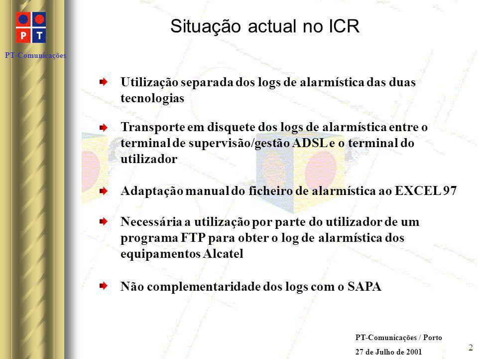 PT-Comunicações PT-Comunicações / Porto 27 de Julho de 2001 3 O futuro no ICR a nível de utilizador: Possibilidade de cada utilizador aceder ao mesmo tempo a uma base de dados de alarmes dos diversos clientes Possibilidade de ter todas as condições necessárias ao bom funcionamento da base de dados automatizada, não sendo necessária, por parte do utilizador, a gestão permanente da mesma Possibilidade de interacção da base de dados de alarmista com a base de dados do SAPA A aplicação necessitará de pouca manutenção e essa será fácil de efectuar por qualquer utilizador do ICR