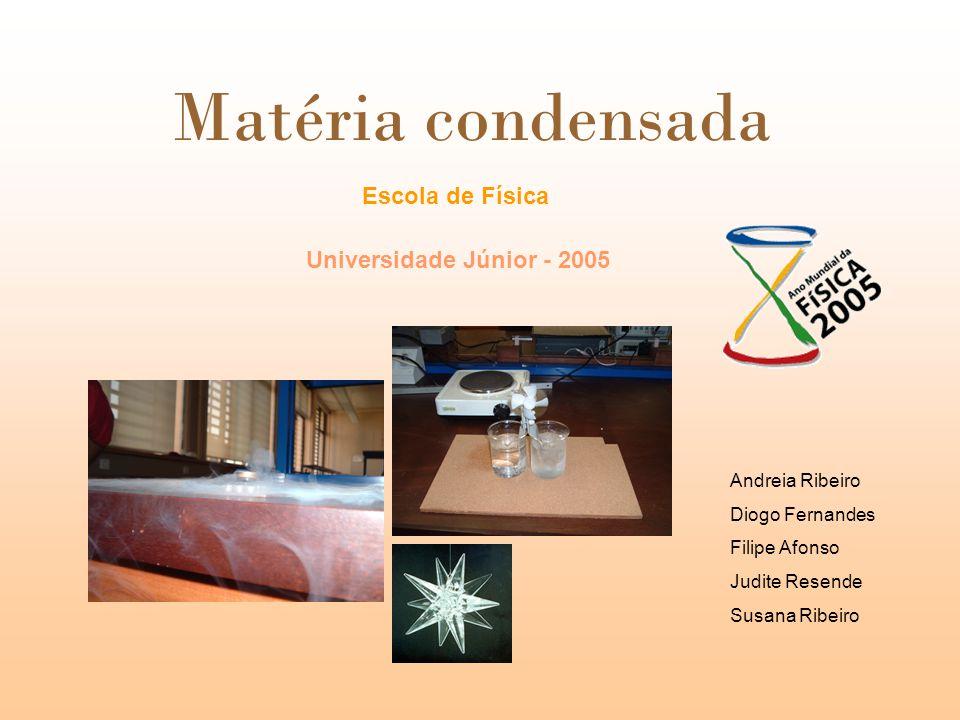 Escola de Física Universidade Júnior - 2005 Matéria condensada Andreia Ribeiro Diogo Fernandes Filipe Afonso Judite Resende Susana Ribeiro