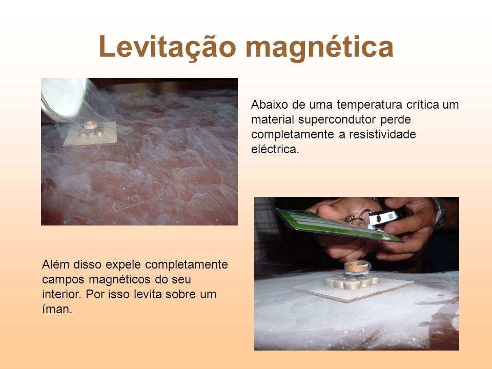 Levitação magnética Abaixo de uma temperatura crítica um material supercondutor perde completamente a resistividade eléctrica. Além disso expele compl