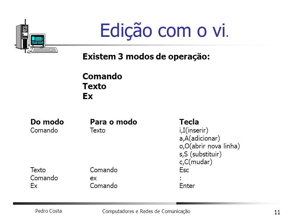 Pedro Costa Computadores e Redes de Comunicação 11 Edição com o vi.