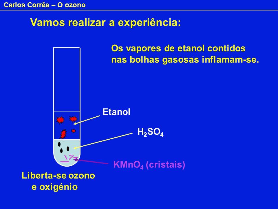 Carlos Corrêa – O ozono H 2 SO 4 Etanol KMnO 4 (cristais) Liberta-se ozono e oxigénio Os vapores de etanol contidos nas bolhas gasosas inflamam-se. Va