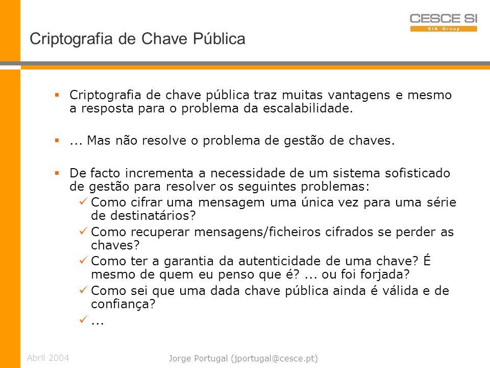 Abril 2004 Jorge Portugal (jportugal@cesce.pt) Criptografia de Chave Pública Criptografia de chave pública traz muitas vantagens e mesmo a resposta para o problema da escalabilidade....