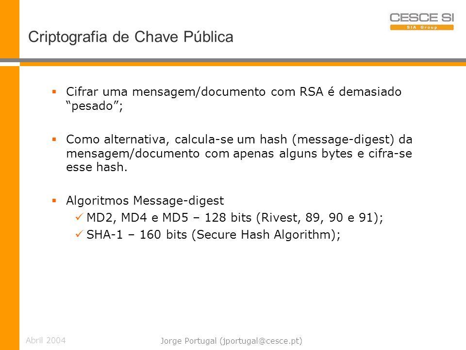 Abril 2004 Jorge Portugal (jportugal@cesce.pt) Criptografia de Chave Pública Cifrar uma mensagem/documento com RSA é demasiado pesado; Como alternativa, calcula-se um hash (message-digest) da mensagem/documento com apenas alguns bytes e cifra-se esse hash.